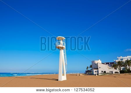 Denia beach Las Marinas baywatch tower in El Moli Alicante of Spain