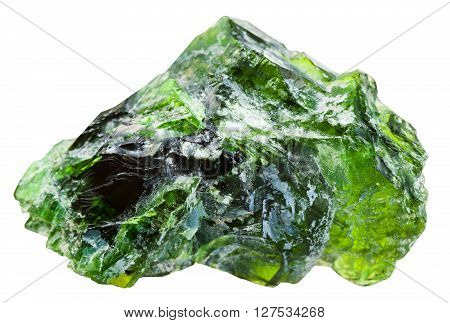 Rraw Chrome Diopside Gemstone Isolated On White