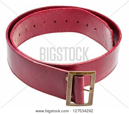 Red Belt With Brass Buckle Isolated On White