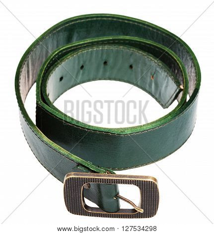 Wide Green Belt With Brass Buckle Isolated