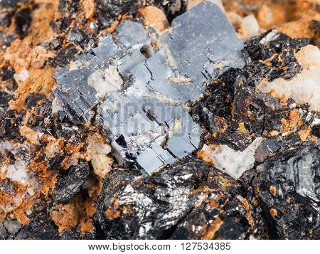 Crystals Of Galena And Sphalerite On Dolomite Rock