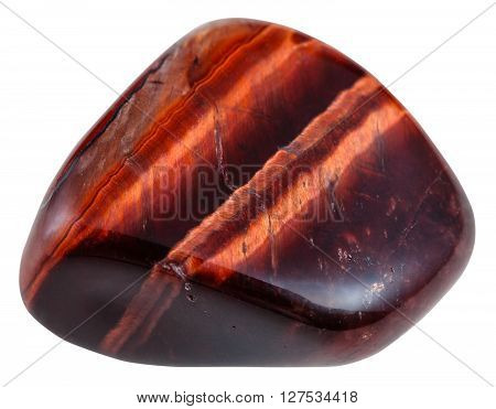 Polished Red Bulls Eye Gemstone Isolated On White