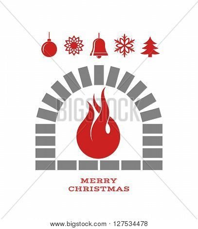 Christmas fireplace with fire. Isolated on white background. (EPS)