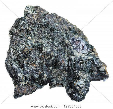 Gray Crystal Of Molybdenite On Glaucophane Rock