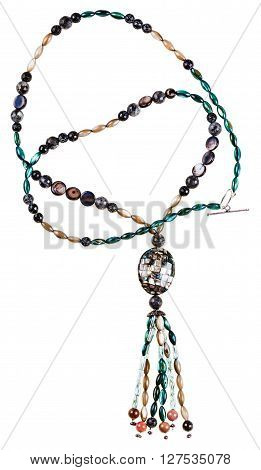 Necklace From Glass Beads And Polished Nacre