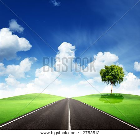 road and perfect sunny day
