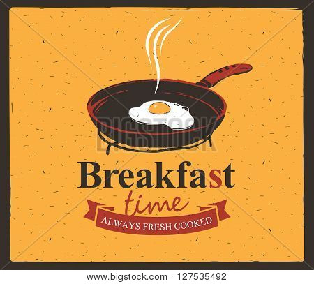 Vector banner for breakfast time with a frying pan and fried eggs
