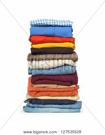 family laundry pile of clothing isolated on a white background