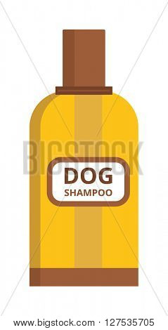 Pet dog shampoo flat icon grooming health bathtub hygiene vector