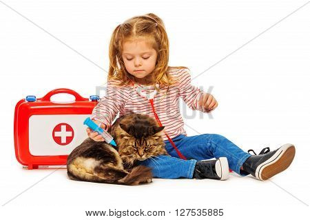 Cat getting a vaccine by little vet, isolated on white background