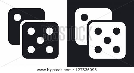 Dice icon vector. Two-tone version on black and white background