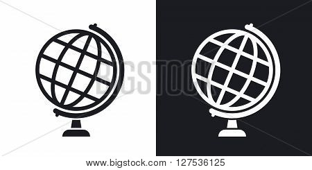 Globe icon stock vector. Two-tone version on black and white background