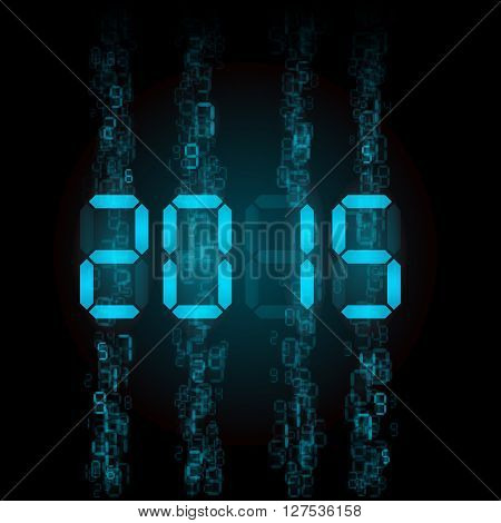 New Year 2015: blue digital numerals on black.