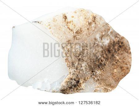 Specimen Of Raw Cacholong Gemstone Isolated