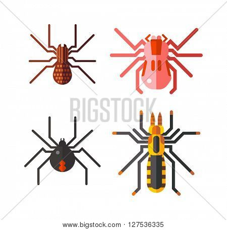 Spiders isolated vector icons set.