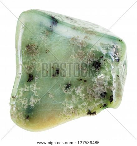 Polished Green Grossular Garnet Gemstone Isolated