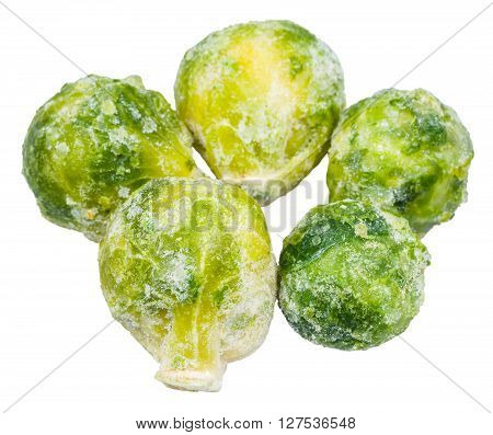 Several Frozen Brussels Sprouts Isolated On White