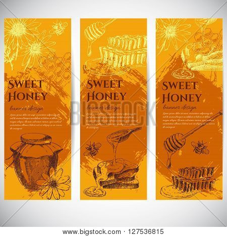 vector honey banner design template. hand drawn honey jar, spoon, stick, cells, camomile. ink sketch of organic nature product