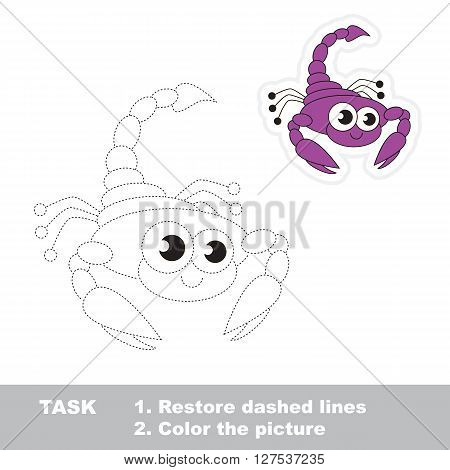 Scorpio in vector to be traced. Restore dashed line and color the picture. Trace game for children.