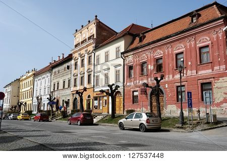 Levoca PRESOV SLOVAKIA - APRIL 03 2016: View on the old colored houses in historical center of Levoca Slovakia.