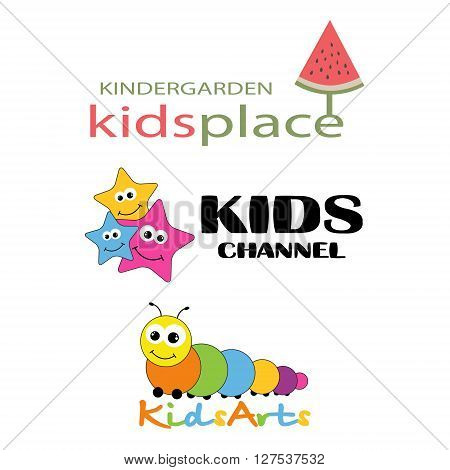 Collection logotypes for children. Logo for kindergarden, children club, kids channel and etc.