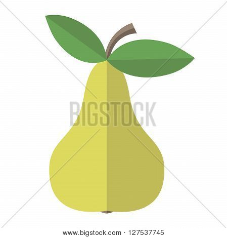 Green delicious ripe pear with leaves isolated on white. Flat style. Healthy natural food diet fruit vitamin juice and season concept. EPS 8 vector illustration no transparency
