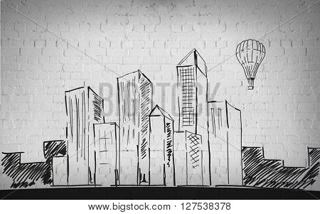 building, architecture, construction, housing and art concept - drawing of city over brick wall background