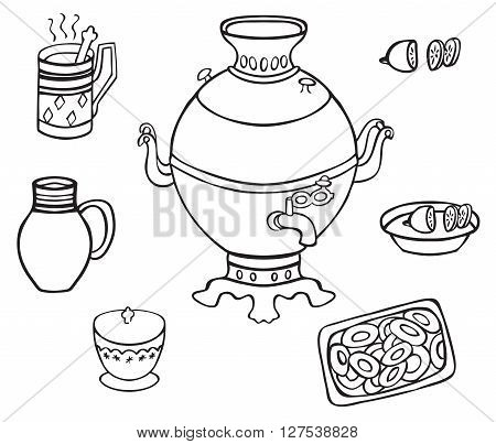 illustration on white background samovar tea cheesecake sugar bowl and jug with milk
