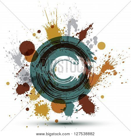 Colored modern vector acrylic backdrop  blob seamless pattern painted with ink brush