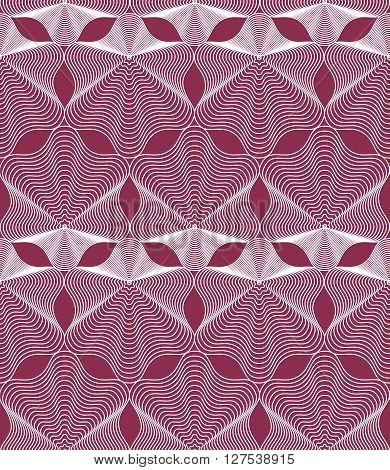 Vector red  stripy endless pattern art continuous geometric background with graphic lines.