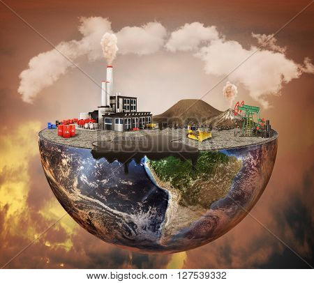Pollution concept. Plant machinery petroleum emissions dirty air landfill. Plant with vulcans and oil spot on the half of planet. Save the planet. 3D Illustration