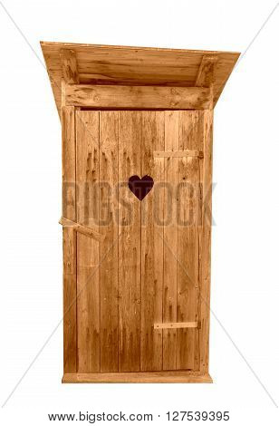 Small wooden outdoors toilet isolated on white