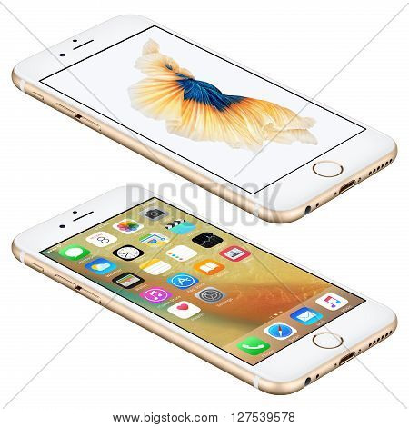 Varna Bulgaria - October 25 2015: Gold Apple iPhone 6S lies on the surface with iOS 9 mobile operating system and Siamese Fighting Fish Dynamic Wallpaper on the screen. Isolated on white.
