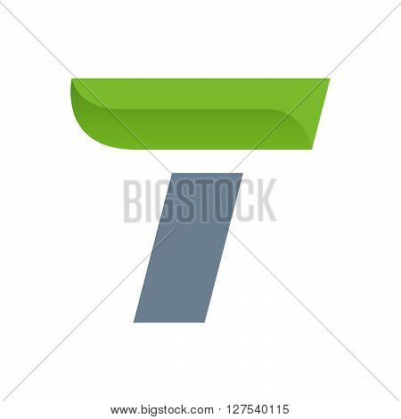 T Letter Logo With Green Leaf.