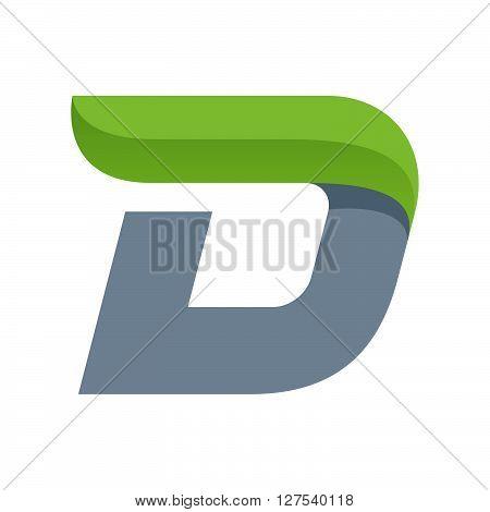 D Letter Logo With Green Leaf.