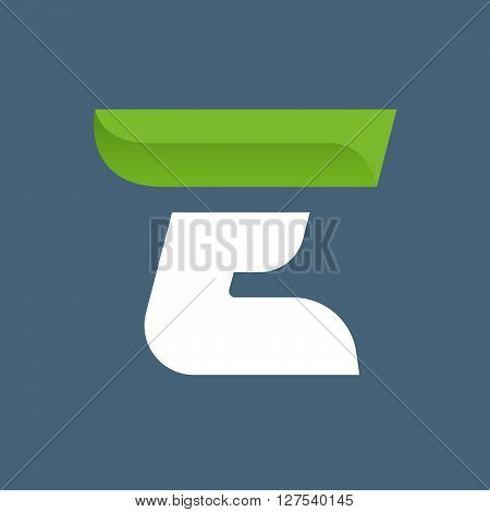 E Letter Logo With Green Leaf.