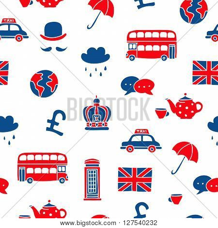 Seamless vector pattern of British icons on a white background. Learning foreign languages.