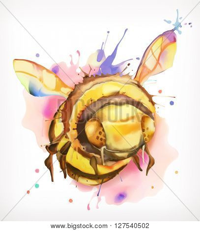 Watercolor painting, honey bee, vector illustration, isolated on a white background