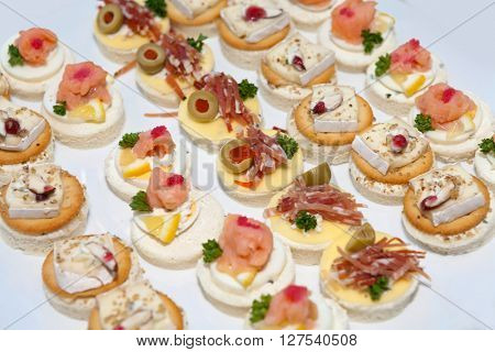 Assorted delicious canapes