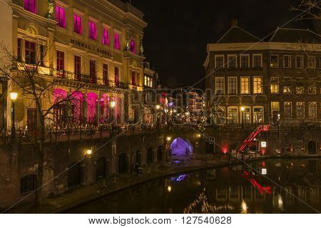 Utrecht, The Netherlands - March 14, 2015: Utrecht at night Oude Gracht Winkel van Sinkel and Ganzenmarkt