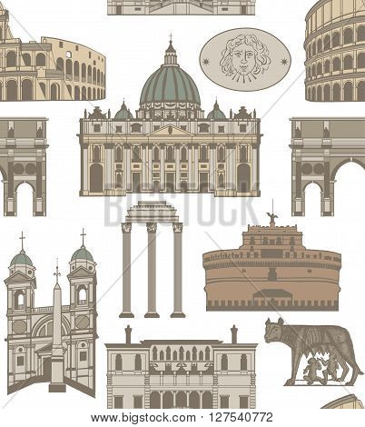 vector seamless background with landmarks and symbols of Rome