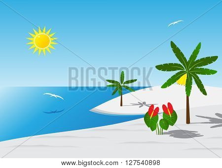 coast. A summer landscape, white sand of a palm tree with bananas and flowers against the blue sky and white birds