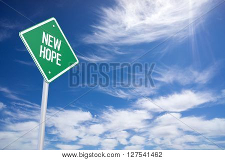New Hope Green Road Sign With Blue Sky Background
