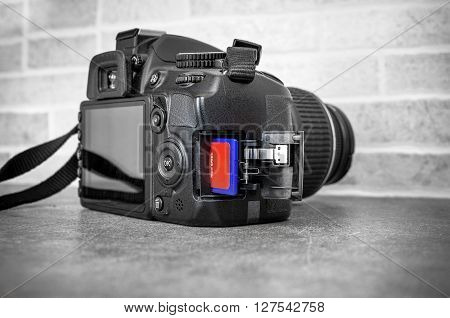 reflex camera sd card black and white background