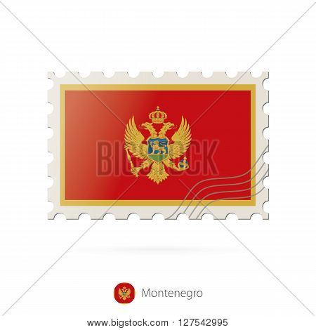 Postage Stamp With The Image Of Montenegro Flag.
