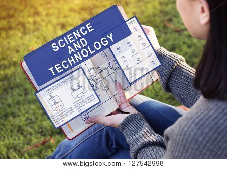 Woman Studying Science and Technology Concept