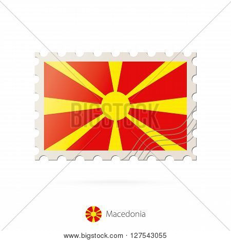 Postage Stamp With The Image Of Macedonia Flag.