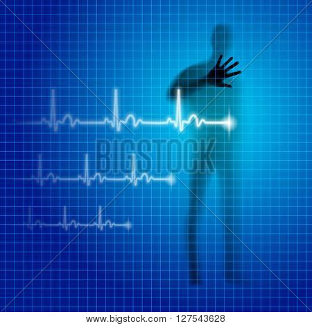 Blue medical background with human silhouette and cardiogram line