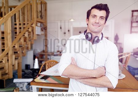 Portrait of young man wearing casual in office