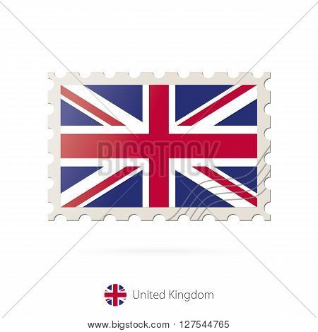 Postage Stamp With The Image Of United Kingdom Flag.